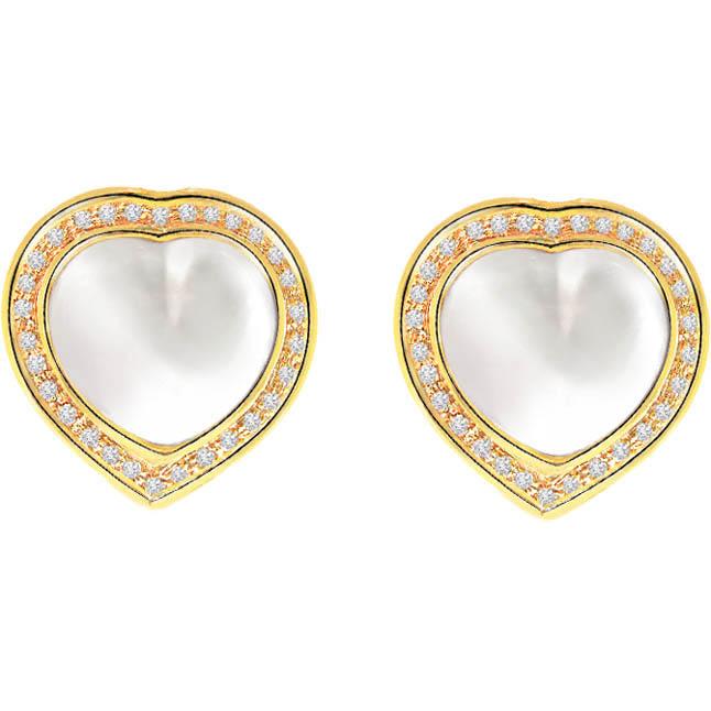 Unique Megical Diamond & Mabe Pearl Earrings -Heart Shape Earrings