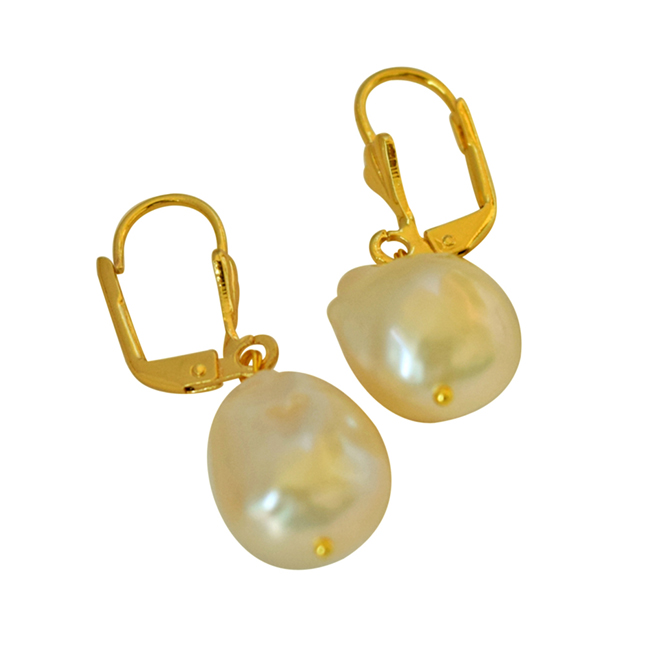 Unique Shaped Real Natural Peach Coloured Baroque Pearl & Gold Plated Hanging Earring SE233-42