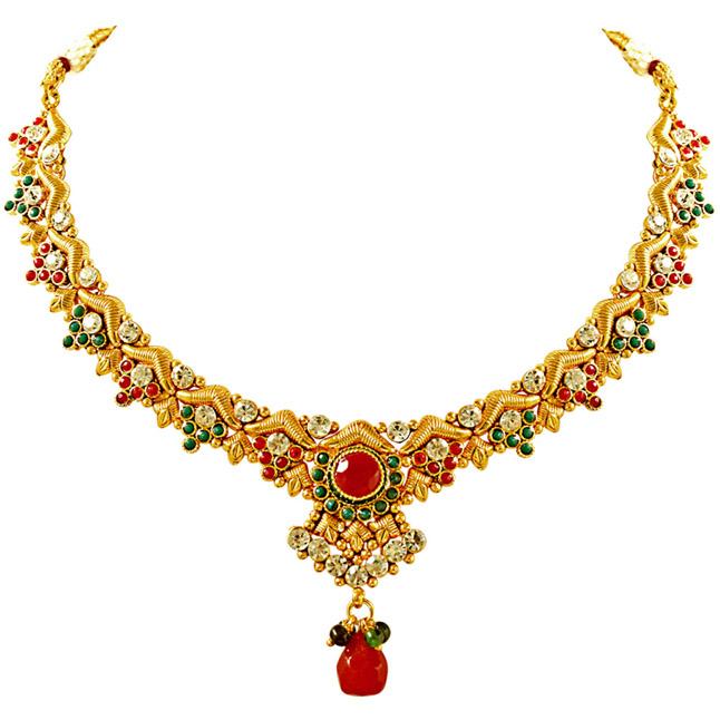 V' Shaped Red, Green & White Stone & Gold Plated Ethnic Necklace, Earrings & Manga Tikka Fashion Jewellery Set