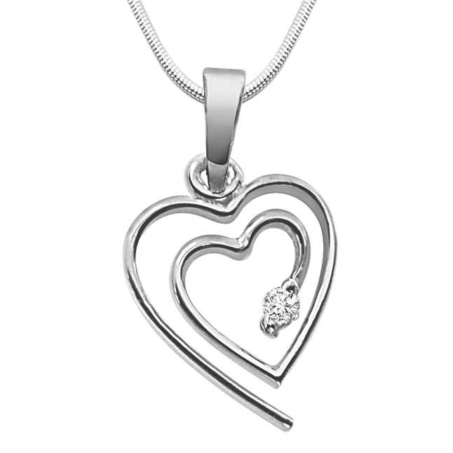 "Valentine's Pendants -Real Diamond & Sterling Silver Pendants with 18"" Chain"