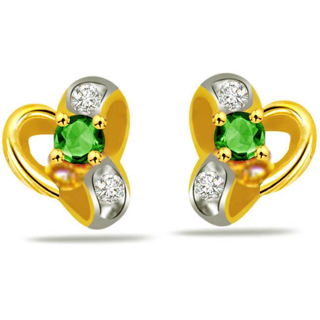 Venus Beauty Diamond & Emerald Classic Earrings -Designer Earrings