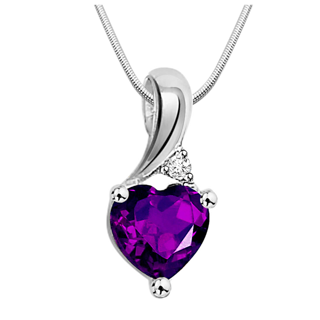 Vibrant Purple - Real Purple Amethyst & Sterling Silver Pendant with 18 IN Chain