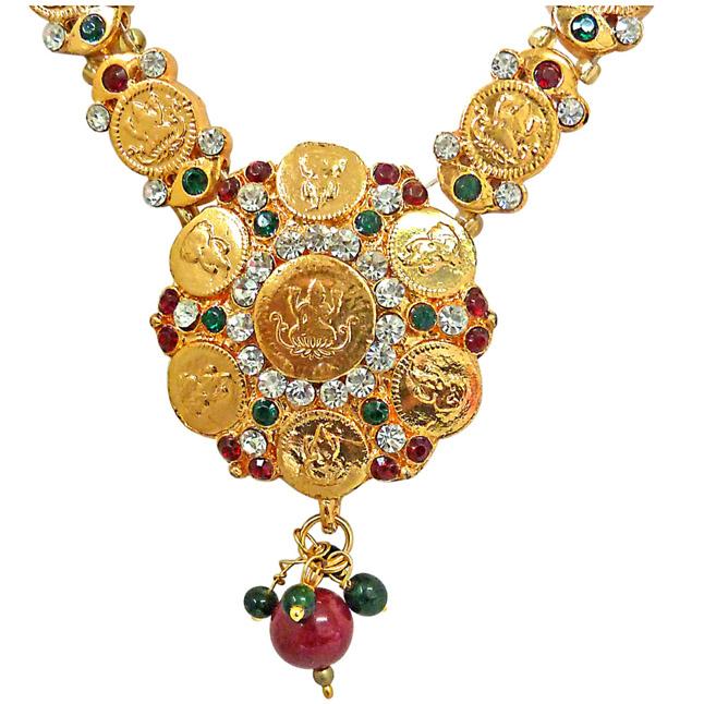 Vidya -Round Polki & Goddess Motif Coins Fashion Jewellery Set