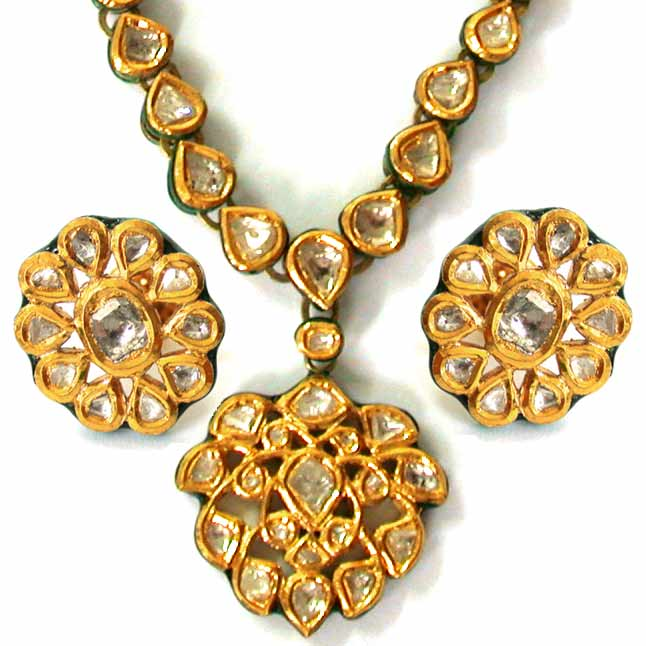 Vill i Type Rose Cut Diamond Pendants -Meenakari Jadtar