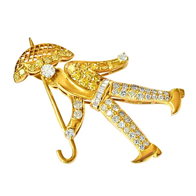 1.92ct White & Fancy colour Diamond Walking Man with an Umbrella Brooch -Diamond Brooches