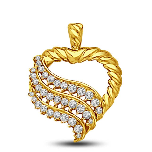 Waves of Diamonds on My Heart -0.34 TCW Heart shaped Pendants