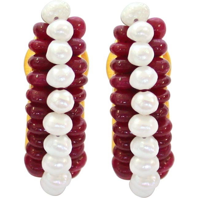 We are forever -Pearl n Ruby Earrings -Balis & Hoops