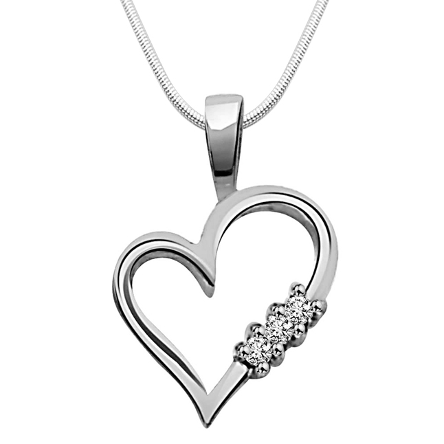 "White Beauty -Real Diamond & Sterling Silver Pendants with 18"" Chain"