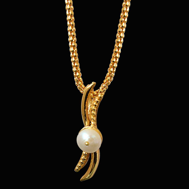 "White Real Freshwater Pearl Gold Plated Pendants & 22"" Chain"