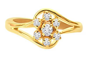 Wonderful Love Real Diamond Flower Shaped rings