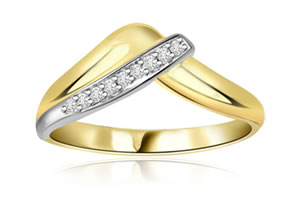 Yellow Delight 0.10 ct Two -Tone Diamond rings -White Yellow Gold rings