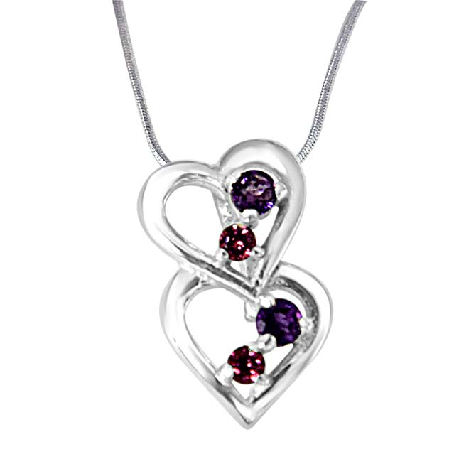 YOU & ME.. Happy Together Amethyst, Rhodolite & 925 Sterling Silver Pendant with 18 IN Chain