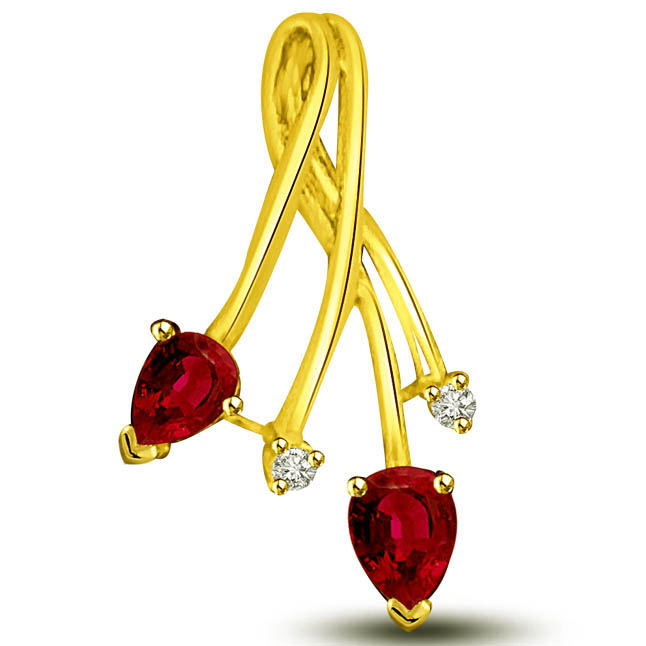 You & Me Diamond Pear shaped Red Ruby Gold Pendants -Diamond -Ruby