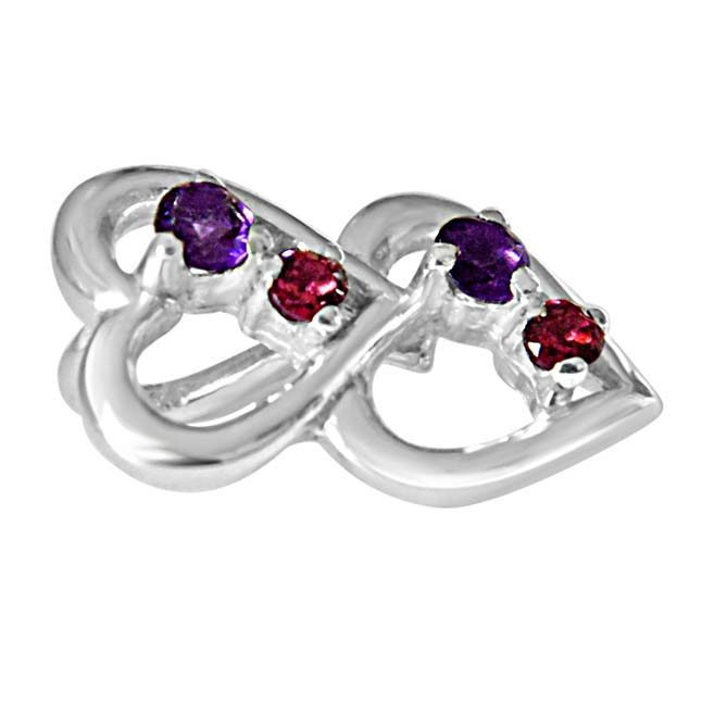 "YOU & ME.. Happy Together Amethyst, Rhodolite & 925 Sterling Silver Pendants with 18"" Chain"