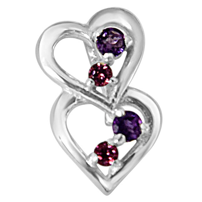 YOU & ME.. Happy Together Amethyst, Rhodolite & 925 Sterling Silver Pendant with Silver Finished 18 IN Chain