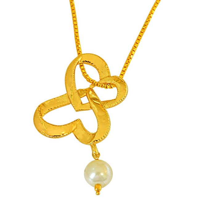 Double Heart Shaped Gold Plated and Shell Pearl Pendant with Chain for Girls SDS264