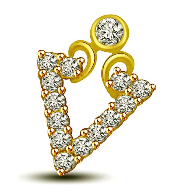 You are my love 0.20ct triangle shaped Diamond & Gold Pendants -Designer Pendants