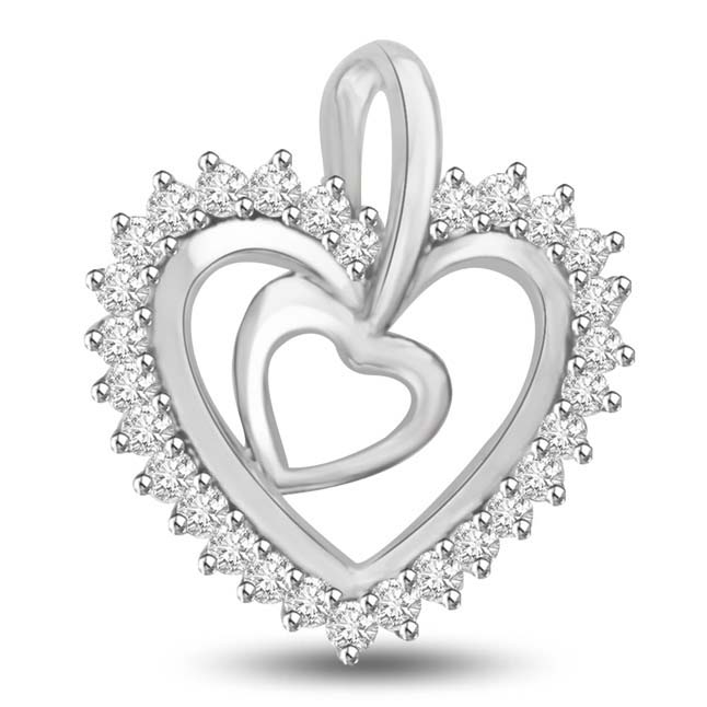 You are my Passion,,,White Gold Diamond Heart Pendants