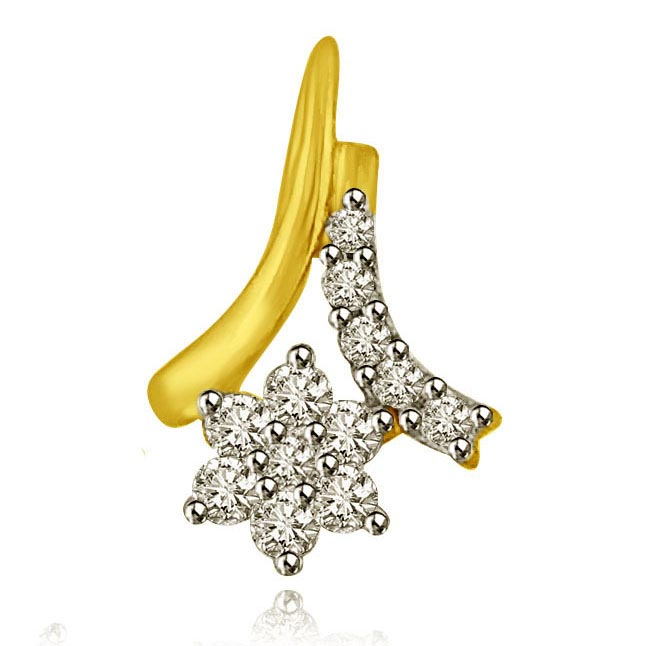 You are Star of my Life 18k Gold & Diamond Pendants for Her -Flower Shape Pendants