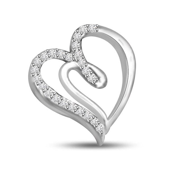 You're My Sweeti White Gold Diamond Heart Pendants