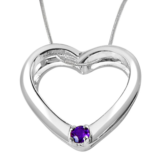 You're Still The One Amethyst & Sterling Silver Pendant with 18 IN Chain