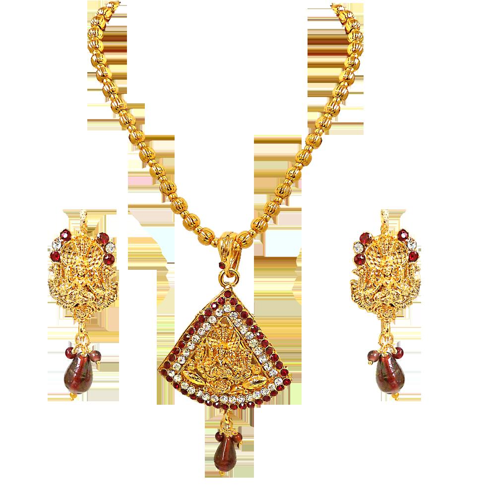 Prakruti red white kundan polki goddess motif fashion jewellery set aloadofball Choice Image