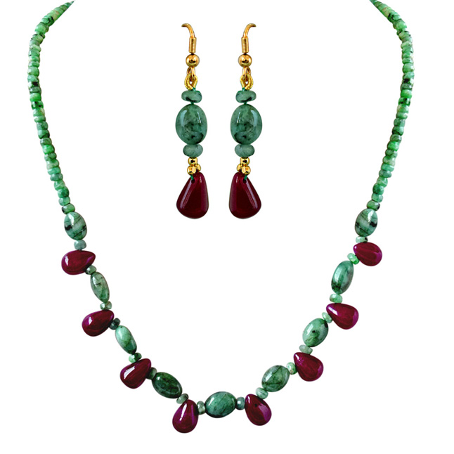 line real natural green emerald drop red ruby necklace earrin