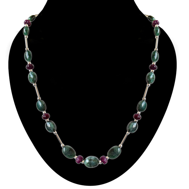 Single Line Beads: Single Line Real Natural Oval Emerald & Khabucha Ruby