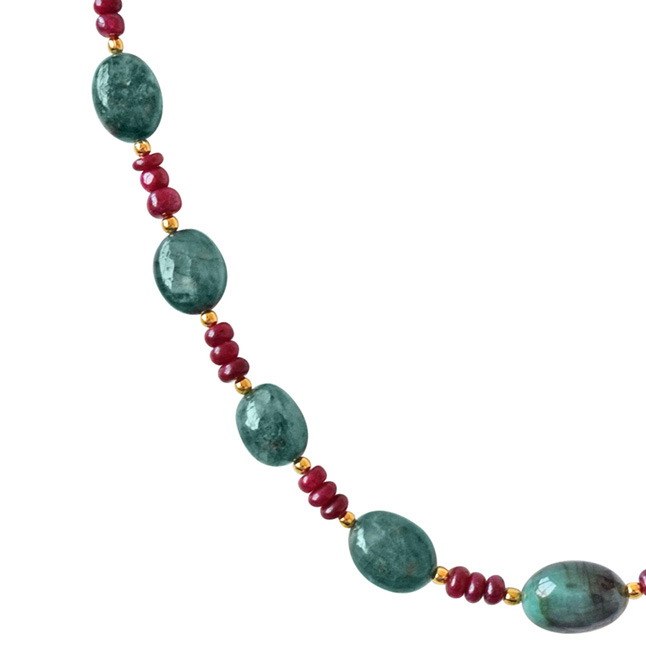 Single Line Beads: Single Line Real Oval Green Emeralds & Red Ruby Beads