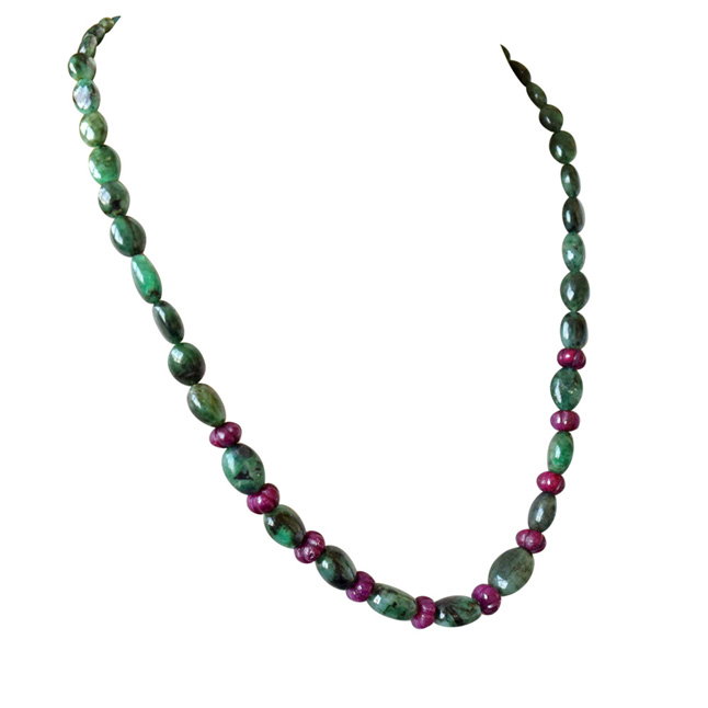 Single Line Beads: Single Line Real Oval Green Emerald & Flower Shaped Red