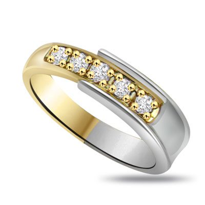 2 Tone Half Eternity Diamond Rings