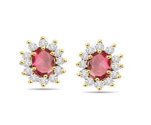 Diamond Gemstone Earrings, Studs