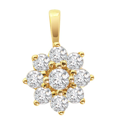 Flower Shaped Diamond Pendants