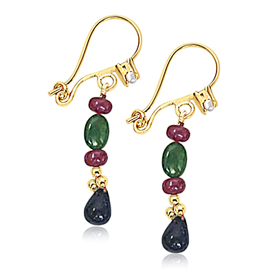 Precious Stone Hanging Earrings
