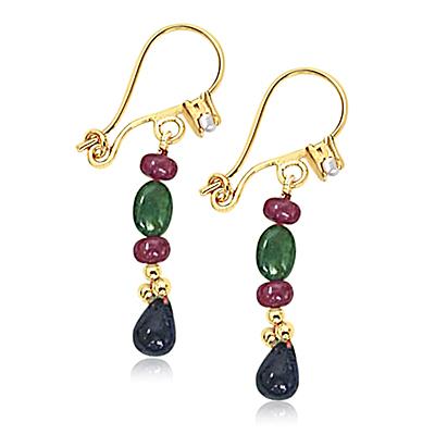 Precious Stone Hanging Earrings